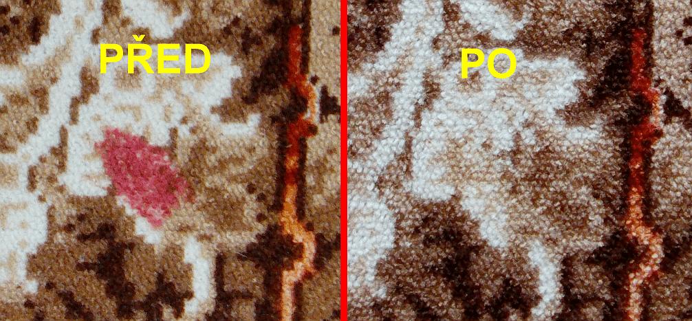 Odstranění skvrny od rtěnky z koberce